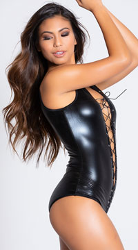 Sexy Lace Me Up Faux Leather Romper - Black