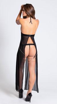 Long Mesh Babydoll and Thong Set - Black