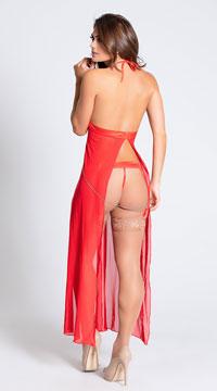 Long Mesh Babydoll and Thong Set - Red