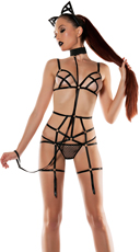 Strapped Leash Bodysuit With Cat Ears - Black