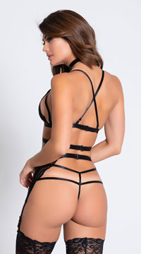 Ms. Rebel Bralette and Garter Set - Black