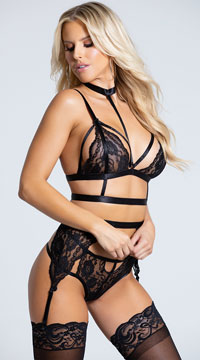Ms. Rebel Bralette and Garter Set - Black