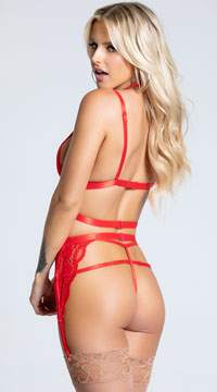 Ms. Rebel Bralette and Garter Set - Red