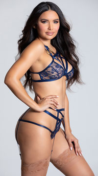 Submissive Strappy Lace Bralette Set - Navy Blue