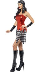 Fever Flashy Pirate With Dress And Cuffs - Red/Black