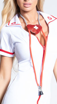 Nurse Heart Shaped Stethoscope - White/Red