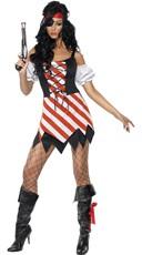 Fever Pirate Costume - Red/White/Black