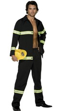 Men's Hot In Here Fireman Costume - Black