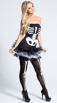 Fever Skeleton Tutu Dress - Black/White