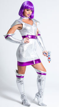 Sexy Space Cadet Costume - Silver/Purple