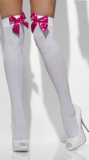 White Thigh High Stockings with Pink Bows - White/Hot Pink