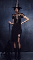 Enchanting Cat Witch Costume - Black