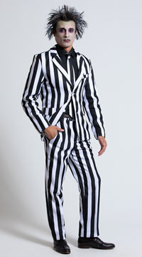Men's White and Black Striped Suit Costume