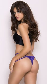 Stretch Lace Strappy Thong - Purple