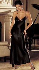 Satin And Lace Long Gown - Black