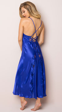 Satin And Lace Long Gown - Blue