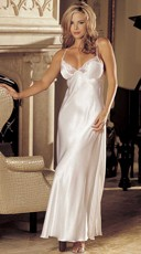 Satin And Lace Long Gown - White