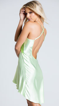 Charmeuse and Lace Chemise - Green