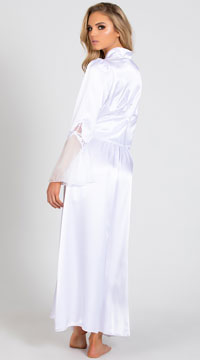 Long Satin and Chiffon Robe - White