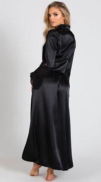 Long Satin and Chiffon Robe - Black
