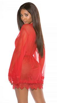 Seductive Sheer Robe Set - Red