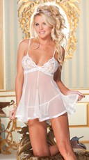 Sheer Lace and Net Babydoll - White