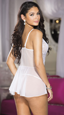 Simply Sexy Netted Flyaway Babydoll Set - White
