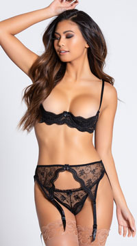 Scalloped Embroidered Bra, Garterbelt and Panty - as shown