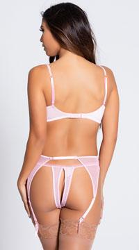 Scalloped Embroidery Garterbelt - Pink