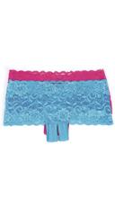 Crotchless Low Rise Lace Boyshort - Turquoise