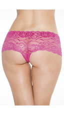 Crotchless Low Rise Lace Boyshort - Hot Pink
