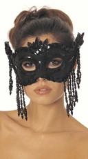 Dazzling Sequin Eye Mask with Beaded Fringe - Black