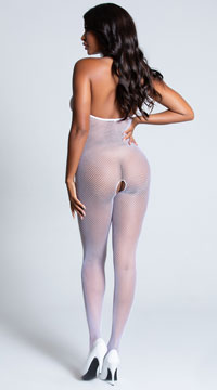 Backless Fishnet Bodystocking - White