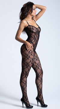 Cross Back Lace Bodystocking - Black