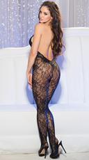 Halter Lace Bodystocking - Black