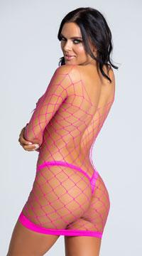 Fancy Fishnet Chemise - Hot Pink