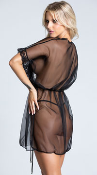 Knit and Lace Robe - Black