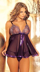 Two Piece Sequin Embroidered Sheer Net Babydoll Set - Purple