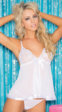 Two Piece Sequin Embroidered Sheer Net Babydoll Set - White