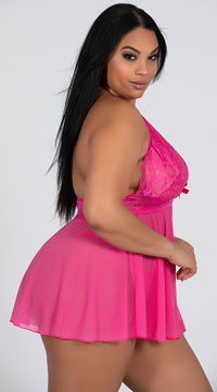 Plus Size Stretch Mesh and Lace Babydoll Set - Hot Pink