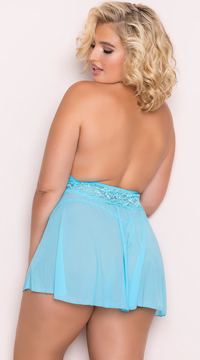 Plus Size Stretch Mesh and Lace Babydoll Set - Turquoise
