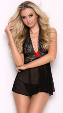 You're A Star Babydoll Set - Black/Red