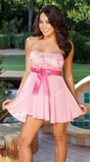 Tie-Front Stretch Lace And Mesh Babydoll - Pink