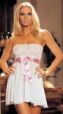 Tie-Front Stretch Lace And Mesh Babydoll - White/Pink