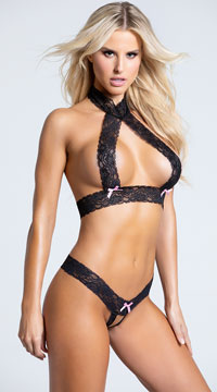 Just Say Yes Lace Bra Set - Black