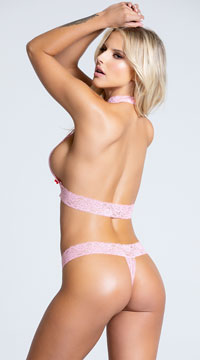 Just Say Yes Lace Bra Set - Pink