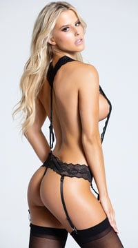 Thong Teddy with Suspenders and Garters - Black