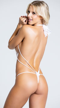 Stretchy Lace Teddy with Rhinestones - White