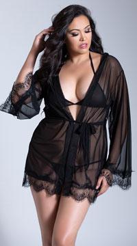 Plus Size Sheer Mesh and Eyelash Lace Robe Set - as shown