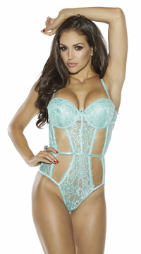 Cut-Out Lacy Teddy - Mint